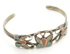 Southwestern Sterling Silver Cuff Bracelet Crushed Inlay Stone Butterfly