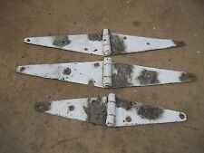 3 Old Shabby White Paint Barn Door Strap Hinges