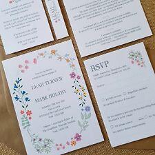 Rustic Bright Colourful Floral Garden Day / Evening Wedding Invites Multicolour