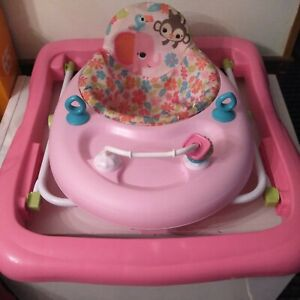 Baby Girl Walker with Toys Pink Adjustable by bright starts