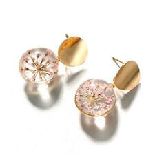 Elegant Sequin Clear Ball Dangle Earrings Dried Flower Pendant Jewelry for Women