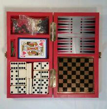 Premium Game Case Chess Checkers Cribbage Dominoes Cards Backgammon EUC (B)
