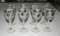 8 Wine Glasses Goblets Vintage Frosted Leaves Silver Tone Rim