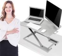 Ergonomic Height Adjustable Standing Desk Converter Stand Up Desk Riser Silver
