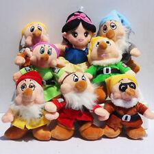 Disney Store Snow White Princess & Seven Dwarfs Plush Toy Dolls 8PCS