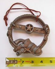 Western Texas Rope Wreath with Six Shooter Christmas Ornament on String - New