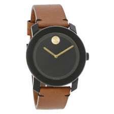 Movado Bold Men's Brown Leather Strap Swiss Quartz Watch 3600305