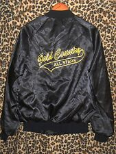 Vintage 80s black satin WestArk M Medium baseball jacket Gold Country All Stars