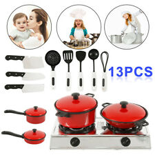 13 Pcs Kids Play Kitchen Food Toys Cooking Utensils Pots Pans Accessories Set UK