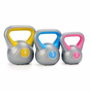 York 2kg 3kg & 4kg Kettlebell Set Vinyl Weight Lifting Exercise Fitness Workout