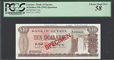 Guyana 10 Dollars ND(1992) P23fs Specimen About Uncirculated
