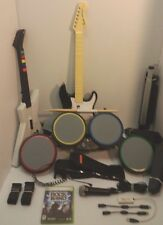 Xbox 360 Rock Band Drums Set, Fender Strat & X-Plorer Wired Guitars, Mic+Game