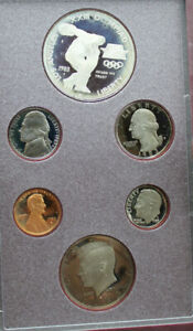 1983 United States Mint Olympic Prestige Proof Set Coins In Box SILVER $1 (T2)