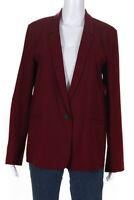 6397 Womens Mini Lapel Single Button Blazer Merlot Red Wool Size Large