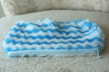 Faux Fur Girl's Blue and White Pencil Pouch with Zipper, Nwot!