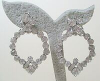 Gorgeous Vintage Rhinestone Drop Hoop Earrings