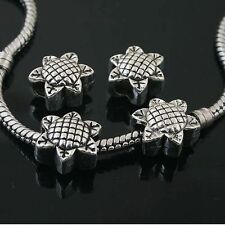 4pcs Tibetan Silver sunflower spacer Beads Fit European charm  Bracelet  L0102
