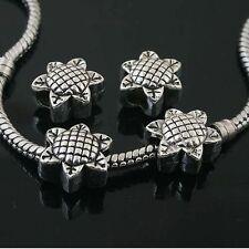4pcs Tibetan Silver sunflower spacer Beads Fit European charm  Bracelet  L0102