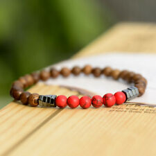 Fashion Natural Red Turquoise Wood Beads Hematite Elastic Strand Unisex Bracelet