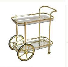 Tea Serving Trolley Metal Glass Gold Finish H 75cm x W 69cm  Moebel