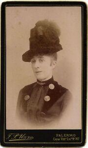 CDV Theatre Opera singer ? Unknown. Attractive cap 1890c F.P. Uzzo Palermo