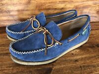 Mens Eastland Casual Moccasin Loafers Blue Suede Leather Size 10