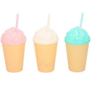 3 x Ice Cream Shaped Drinking Bottles With Lids & Reusable Straw 450ml Milkshake