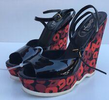 YSL Yves Saint Laurent Tribute Black Platform High Wedges Sandal Size 7.5/37.5