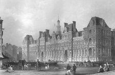 Paris HOTEL DE VILLE RENAISSANCE REVIVAL ARCHITECTURE ~ 1865 Art Print Engraving