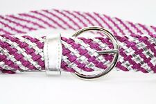38mm Women's Ladies Pink & Silver PVC Glitter Belts Fashion Buckle Waist 30-34""
