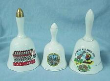 3 Ceramic Souvenir Bells Kings Island Southwicks Wild Animal Farm Rockettes