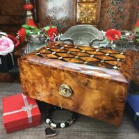 Keepsake Victorian vintage style thuya burl wooden box, memory jewelry gift box