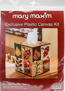 PLASTIC CANVAS FALL FOLIAGE TISSUE BOX COVER KIT
