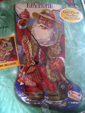Bucilla Christmas Holiday Needlepoint Stocking Kit,FISHING SANTA,Gillum,60782