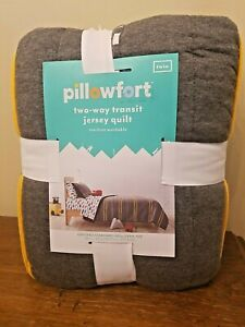 TWO-WAY TRANSIT JERSEY QUILT 66x88in TWIN GRAY/GOLD&WHITE STRIPED
