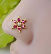 Indian Nose Ring Nose Piercing Silver Stone Crock Screw Nose Pin Nose Jewelry CZ