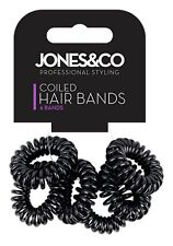 6 pack black Telephone Cord Hair Coil Bobbles Bands ties