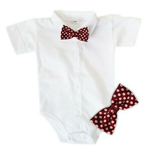 Baby Boys Bodysuit Shirt CLARET BOW Outfit Special Occasion Christening Wedding