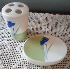 Ceramic Floral Design Blue White And Green Soap Dish and Holder Set