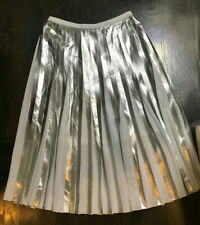 WOMENS RAOUL SILVER METALLIC FOIL & WHITE PLEATED SKIRT SZ 2 $295 MSGM
