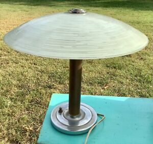 Vtg Art Deco Mushroom Lamp Chrome glass shade mid century modern