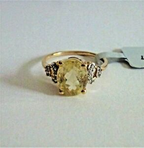 3.46 Ct Natural Canary Kunzite & Sapphire 10K Solid Yellow Gold Ring Size 7