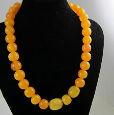 Vintage Estate Rare Sterling Silver Butterscotch Amber Bead 70.5 Gram Necklace