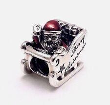 Authentic Pandora Sleighing Santa Charm W/ Pandora TAG & HINGED BOX #792004CZ