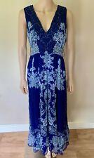 René Derhy Tierce gasa Maxi Vestido Largo Azul De 14 grandes Boho Folk Floral De Verano
