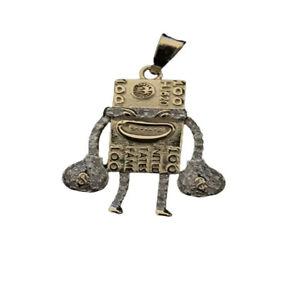 Yellow Gold On Real Diamond $100 Money Bag Robot 0.35 Ct Pendant Charm 1.34 Inch