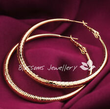 9K 9CT Yellow GOLD Filled 5mm LARGE Womens HOOP Dangle EARRINGS ES621 Jewellery