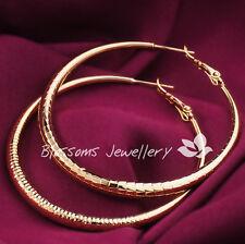 9K 9CT Yellow GOLD Filled 5mm LARGE Womens HOOP Dangle EARRINGS ES621 Jewellery
