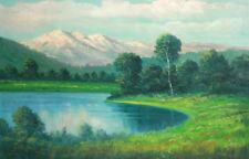 European Art, Antique Oil Painting, Landscape Lake