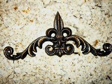 Cast Iron, Fleur de Lis, Topper, Wall Plaque, Crown, Pediment, Old World Tuscan